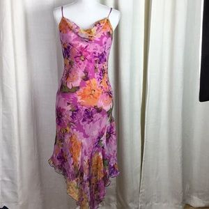 NWT Cache Floral Watercolor Dress Silk **flaw